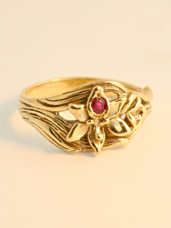 Orchid Ring with Ruby - 14K Gold
