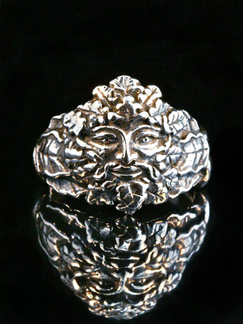 Oak Leaf and Acorn Green Man Ring in Silver