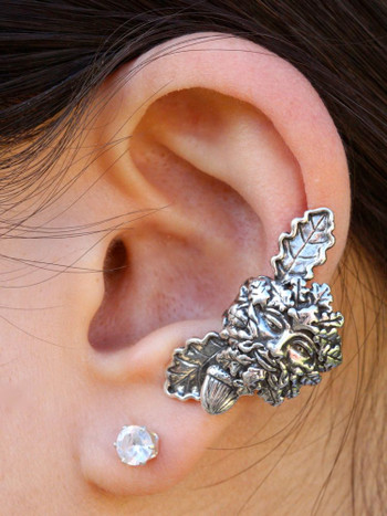 Green Man Ear Cuff in Silver