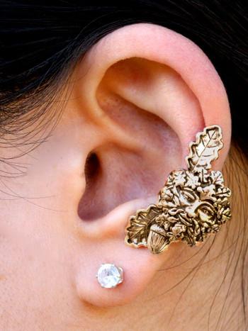 Green Man Ear Cuff Bronze