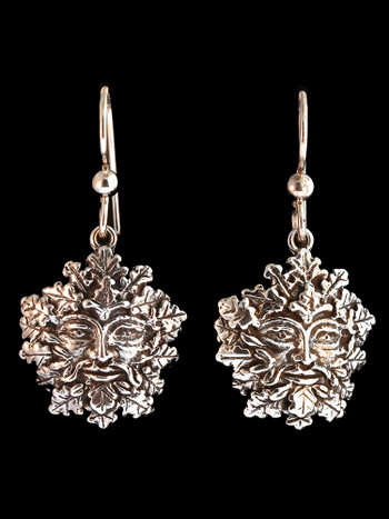 Green Man Earrings - Silver