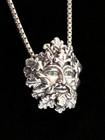 Green Man Charm with Tsavorite Eyes - Silver