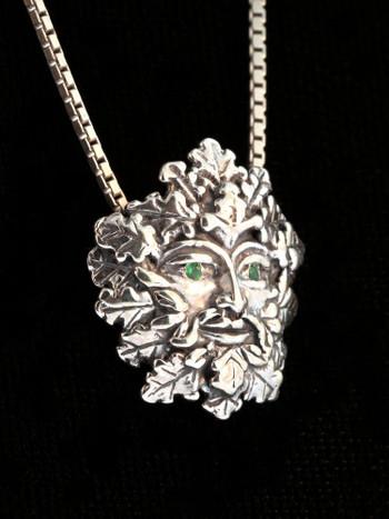 Green Man Charm with Tsavorite Eyes - Silver