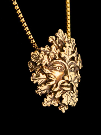 Green Man Pendant - 14K Gold
