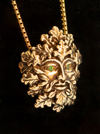 Green Man Pendant with Tsavorite Eyes - 14K Gold