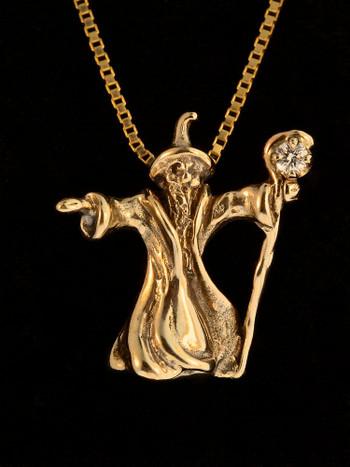 Wizard Charm with Diamond - 14K Gold