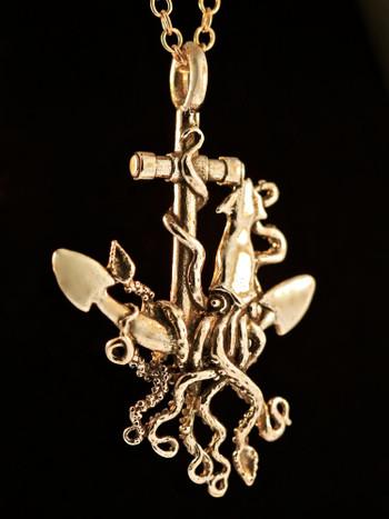 Kraken Squid and Anchor Pendant - Bronze