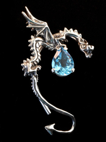 Classic Dragon Ear Wrap with Blue Topaz in Silver