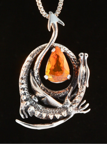 Curled Dragon Pendant with Brazilian Fire Opal