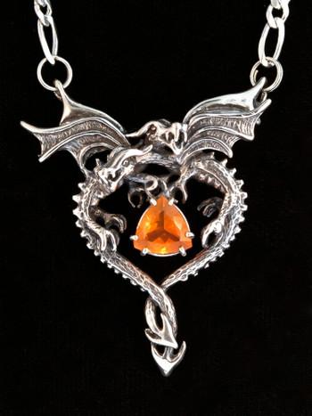 Dragon Heart Pendant - Mexican Fire Opal - Silver