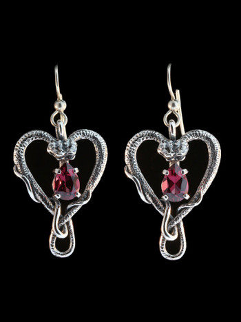 Viper Valentine Earrings with Gemstones - Silver