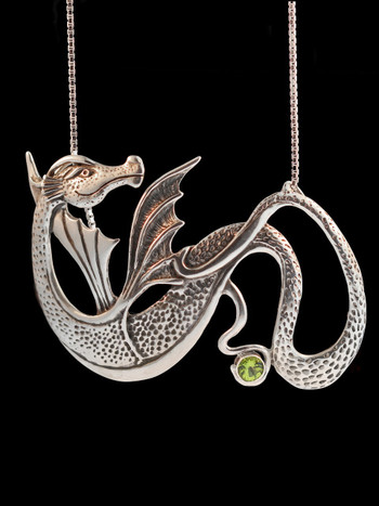 Wyvern Dragon Pendant with Peridot