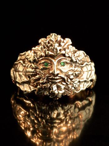 Green Man Ring with Tsavorite Eyes in 14K Gold