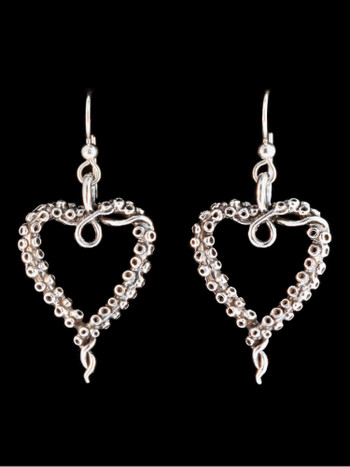 Tentacle Heart Earrings in Silver