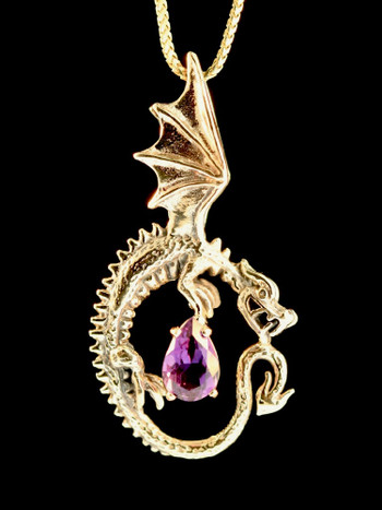 Oracle Dragon with Amethyst - 14K Gold