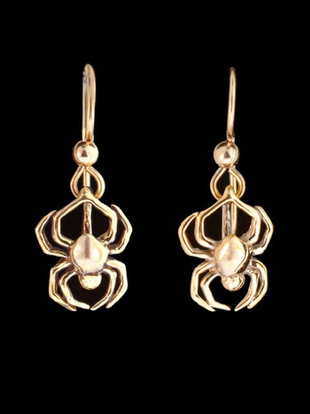 Small Spider Earrings in 14K Gold