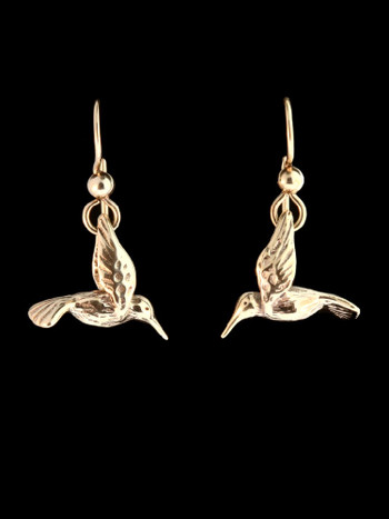 Small Hummingbird Earrings in 14K Gold
