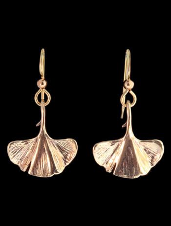 Ginko Leaf Earrings in 14K Gold