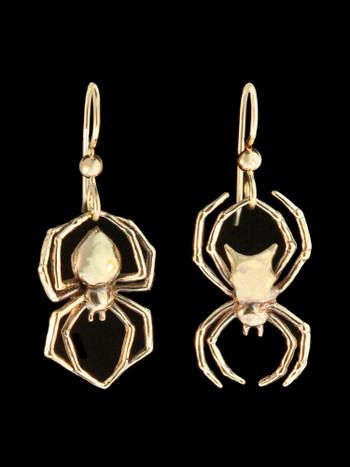 Black Widow and Orb Weaving Spider Earrings in 14K Gold