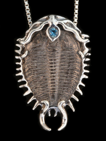 Colossal Spiked Trilobite with Gemstone Pendant in Silver
