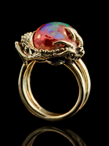 Curled Dragon Ring with Mexican Matrix Opal in 18K Gold
