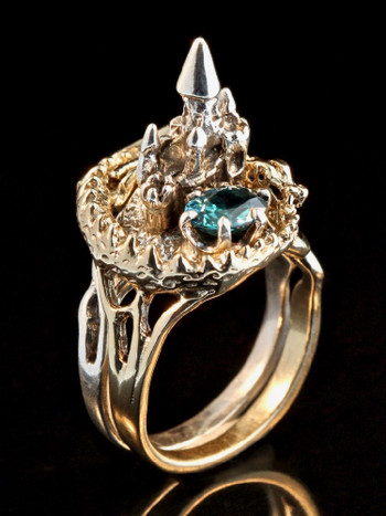 Castle Dragon Ring with Blue Zircon in 14K Gold and Silver