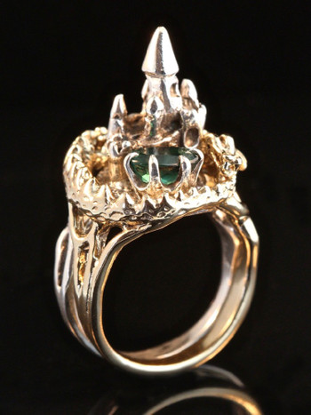 Castle Dragon Ring with Tourmaline in 14K Gold and Silver