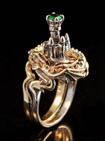 Castle Dragon Ring with Tsavorite in 14K Gold and Silver