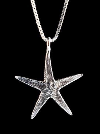 Life Casting Sea-Star Starfish Charm in Silver