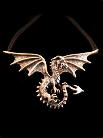 Spread Winged Dragon Neckpiece in Bronze