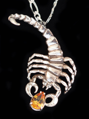 Scorpion Pendant with Gemstone in Silver