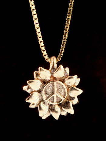 Flower Power Peace Charm - 14K Gold
