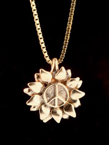 Flower Power Peace Charm - 14K Gold
