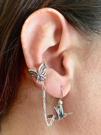Hummingbird and Flower Ear Cuff Bajoran - Silver