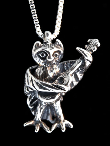 Edward Lear Poem - Owl with Guitar Charm - Silver