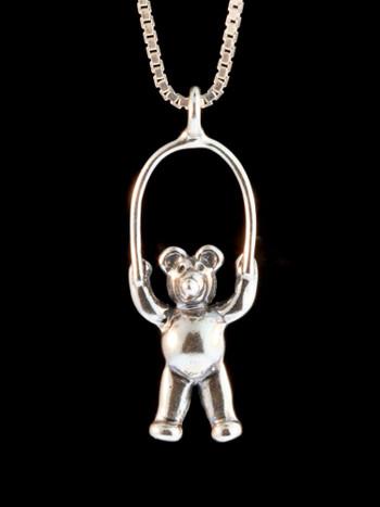 Jump Rope Bear Charm - Silver