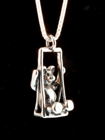 Swing Bear Charm - Silver