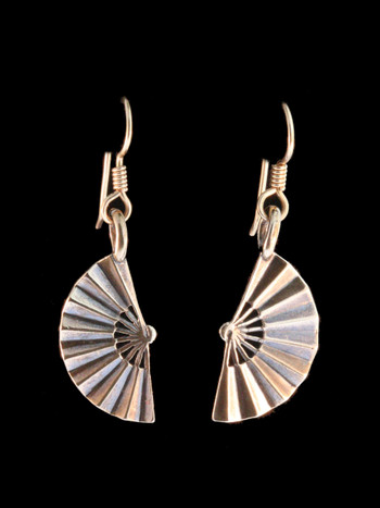 Japanese Fan Earrings - Bronze