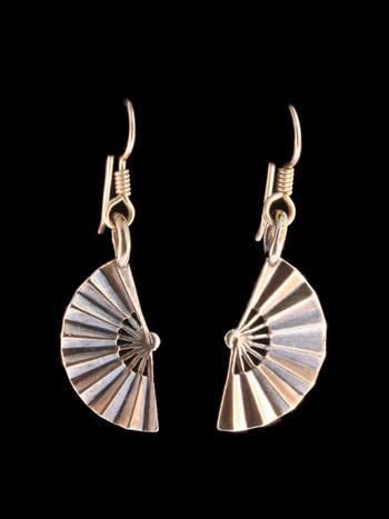 Japanese Fan Earrings - Bronze