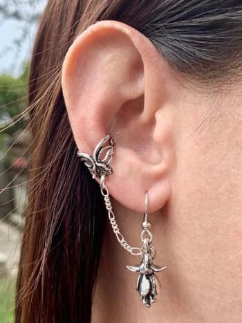 Fuchsia - Flower Ear Cuff Bajoran - Silver