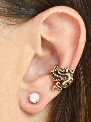 Octopus Tentacle Twist Ear Cuff - 14K Gold