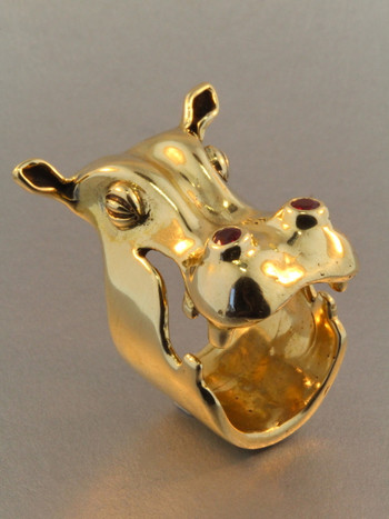 Henrietta Hippo Ring - Gold with Rubies