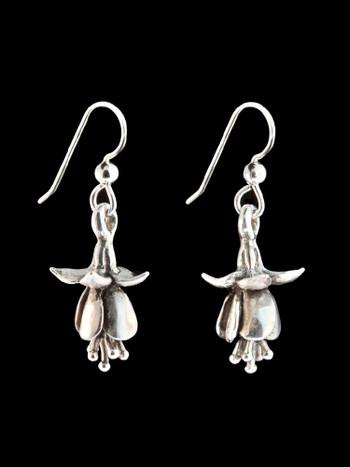 Fuchsia Flower Earrings in Silver