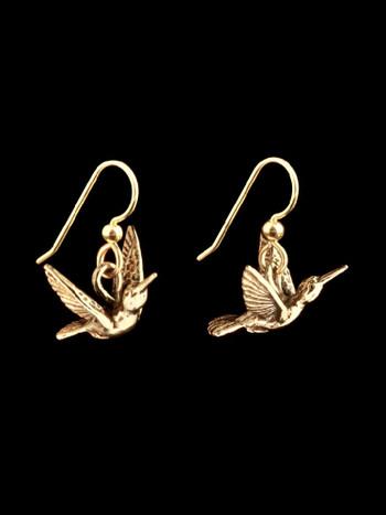 Flitting Humming Bird Earrings - 14K Gold