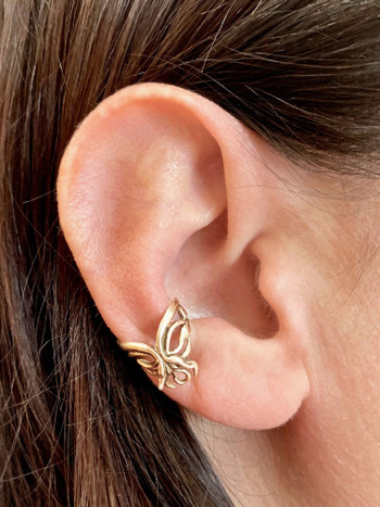 Fuchsia Flower Ear Cuff in 14K Gold