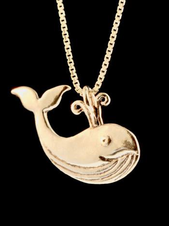 Spouting Whale Charm 14K Gold