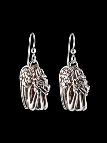 Spitting Gargoyle Earrings in Silver