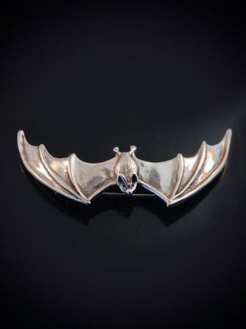 Large Spread Winged Bat Pin in Silver