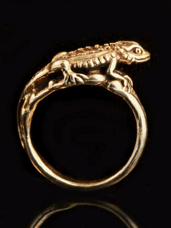 Bearded Dragon Lizard Ring in 14K Gold