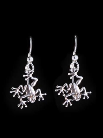 Jungle Jewel Tree Frog Earrings - Silver